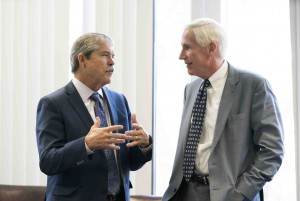 State Sen. Larry Taylor (left) with Chairman Justice Scott Brister (right)